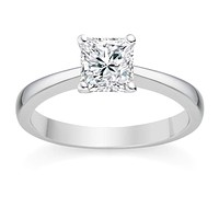 Princess Cut 1 Carat Solitaire Cubic Zirconia and Gold Engagement Ring - 14K (Yellow, Rose or White Gold)