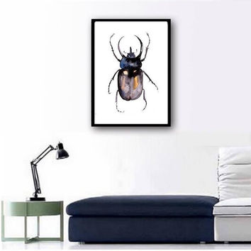 Atlas beetle watercolor painting insect boy kid nursery decor print simple wall art hand drawing artwork 4x6 5x7 8x10 11x14 16x20 24x36 art
