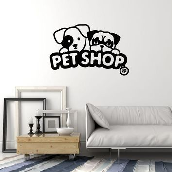 Vinyl Wall Decal Pet Shop Sign Animals Puppy Dogs Decoration Idea Stickers Mural (ig5618)