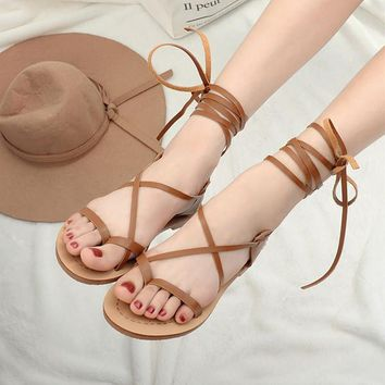 Tie Up Low Heel Gladiator Sandals