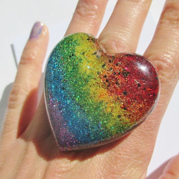 Big Rainbow Heart Ring - Holographic Colorful Heart Shaped Resin Big Huge Jewelry