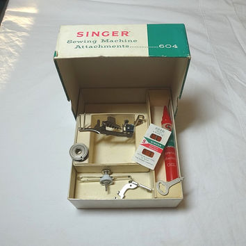 1960s Singer Sewing Machine Boxed Attachments & Accessories for Class 604 Machine, Oil, Bobbin, Seam Guide, Binder, Vintage Sewing Machine