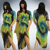 HandShredded  Tie Dye T shirt Fringed Sleeved Dress