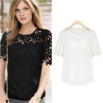 White Short Sleeve Crochet Lace Accent Top