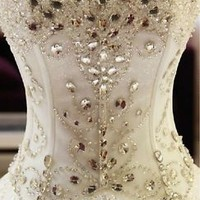 Sweetheart Corset Top Wedding Dress Beaded Bridal Dress Lace-up Bridal Gown