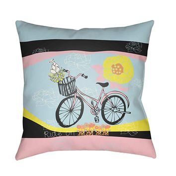 Doodle Pillow Cover - Lime, Pale Pink, Pale Blue, Black, Bright Yellow - DO007