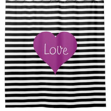 Pink Love Heart On Black & White Striped Pattern Shower Curtain