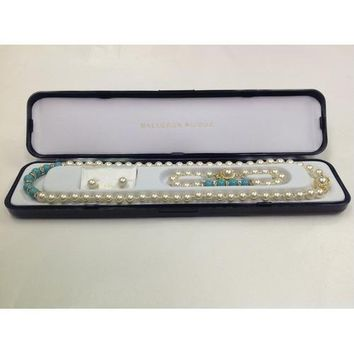 """Lead-free Glass Pearl 7mm Necklace(18""""), Bracelet and Earring Set with Crystal Rondelles and Turqoise Colored Pearls in Center in Gift Box"""