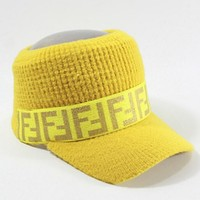 Fendi Knitted wool cap F-marked empty cap