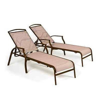 New Sand Dune Chaise Lounges Tan Set of 2 Outdoor Patio Pool Deck Furniture