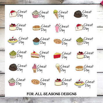 Cheat Day Planner Stickers, Dieting Planner Stickers, Weight Watcher Planner Stickers Fits Erin Condren Planner, Life Planner Stickers