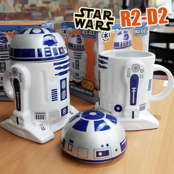 1 PCS Creative Star Wars R2-D2 Robot Ceramic Mug Personality Coffee Cup Porcelain Tea Cup Zakka Tumbler for Children Friend Gift