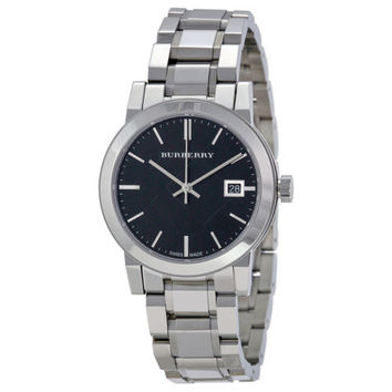 Burberry Black Check Stamped Dial Stainless Steel Ladies Watch