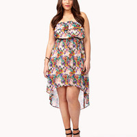 Abstract Floral Print High-Low Dress