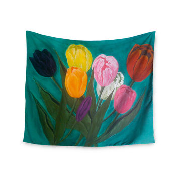 "Christen Treat ""Tulips"" Rainbow Flower Wall Tapestry"