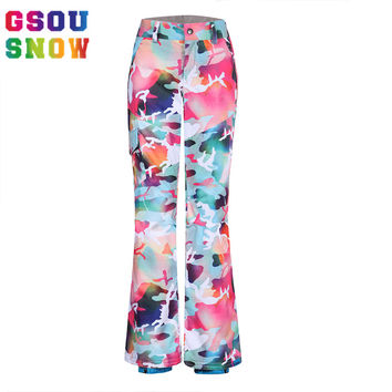 Gsou Snow Ski Pants Women Colorful Ladies Camouflage Camo Ski Pants Women Snowboard Trousers Waterproof Windproof Ski Clothes