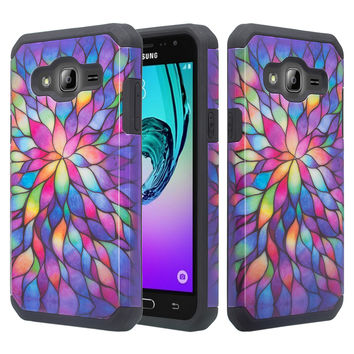 Galaxy J3 Case, Galaxy Sky, Galaxy Express Prime Case, Galaxy Sol, Galaxy Amp Prime [Shock/Impact Resistant] Hybrid Dual Layer Defender Protective Cover for Samsung Galaxy J3/J3 V - Rainbow Flower