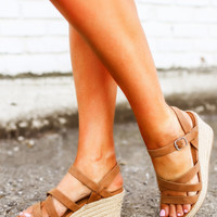 Strappy Wedges- Tan