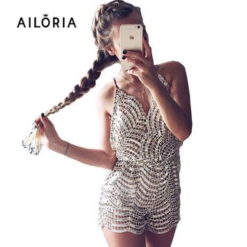 LMFUNT AILORIA 2016 Summer Sliver sequin embroidery elegant jumpsuit romper backless sleeveless playsuit women Deep v neck overalls