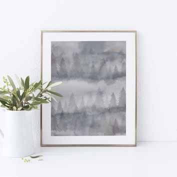 Gray Forest Fog Tree Line Evergreen Abstract Wall Art Print or Canvas