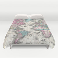 Vintage Map of The World (1852) Duvet Cover by BravuraMedia | Society6