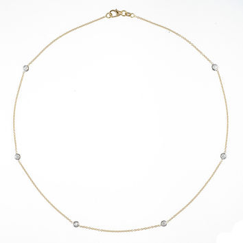 18 Karat Yellow and White Gold Diamonds by the Inch Necklace