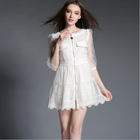 White Front Zipper with Pocket Floral Embroidery Mesh and Lace Dress