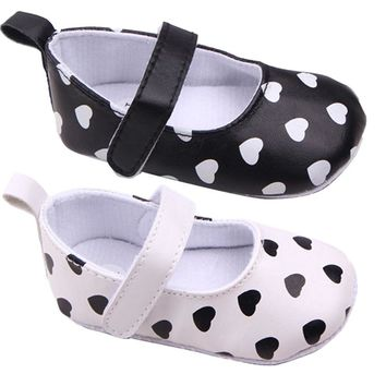 Baby Girl Princess Mary Janes Fashion Crib Shoes Toddler Kids Heart Printed Shoes S01