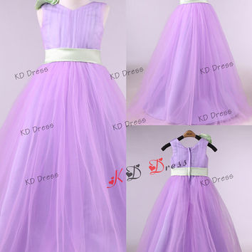 Lilac Tulle Princess Sleeveless V-neck  Flower Girl Dress Toddler Birthday Party Dress with Sage Sash/Flower