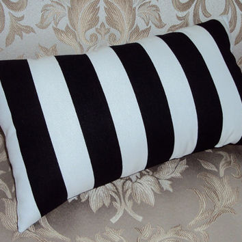 16x9 Black and White Stripe Decorative Mini Lumbar Pillow Cover - Same Fabric Both Sides