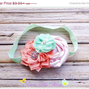 20%SALE Coral Mint Pink Headband - Big Flower Headband - Newborn Photo Prop - Spring Hairband - Hair Bow Headband - Infant Head Band - Hair