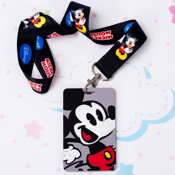 1 pcs Cartoon anime black mickey Lanyard Key Chains Pendant party Gifts Neck Strap Card Bus ID Holders Identity Badge Lanyard