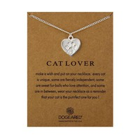 Cute Animal Dog Footprints Heart-Shaped Card Alloy Clavicle Pendant Necklace  171208