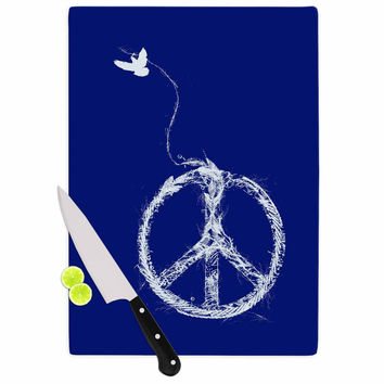 "Frederic Levy-Hadida ""Bird Sewing Peace"" Blue White Cutting Board"