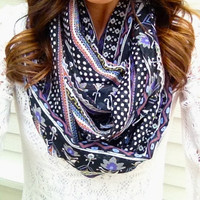 Purple and Black Boho Infinity Scarf