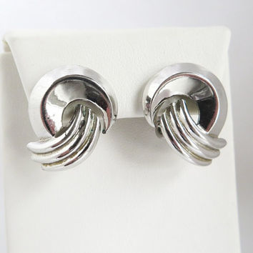 Trifari Earrings, Vintage Silver Tone Earrings, Knot Earrings, Clip-on Earrings