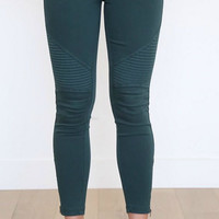 Moto Leggings - Emerald