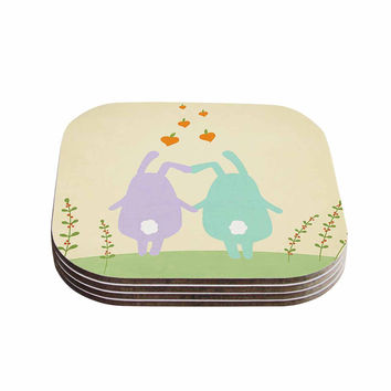 "Cristina bianco Design ""Cute Bunnies"" Beige Animals Coasters (Set of 4)"
