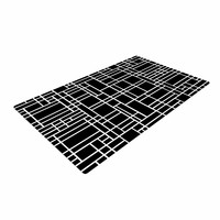 "Project M ""Map Outline Black"" Simple Geometric Woven Area Rug"