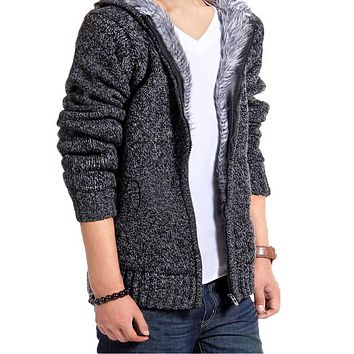 Mens sweater faux fur lined sweat shirt knitted hoodie full zip
