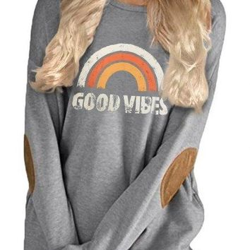Good Vibes Elbow Patch Sweatshirt
