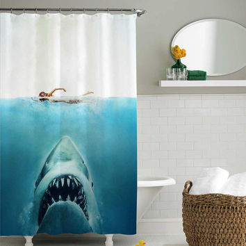 shark jaws shower curtain,shower curtain size 36x72 48x72 60x72 66x72