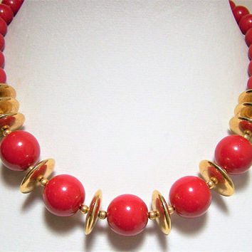 Monet Cherry Red Lucite Bead Necklace,  Gold Tone Disk Beads, 18 Inches Long, Fall Fun Style, Vintage Jewelry, Costume Jewellery 417