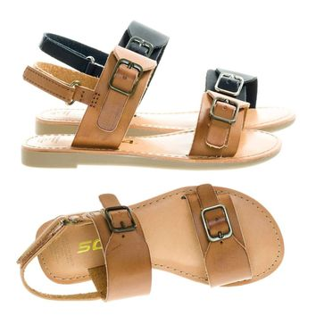 MixupIIs Children Girls Flat Sandal Double Buckle & Sling Back Hook & Loop