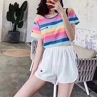 """Champion"" Fashion Casual Multicolor Pattern Letter Print Round Neck Short Sleeve Set Two-Piece Sportswear"