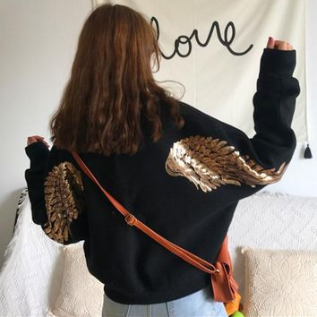 """Adidas"" Women Casual Fashion Embroidery Sequin Wing Long Sleeve Zip Cardigan Woolen Jacket Coat"