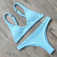 Reti Sky Blue WireFree Adjustable Top with Low Waist Sexy Bottom