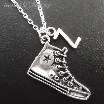 On sale.......Silver plated Basketball shoe necklace, monogram personalized custom gifts under 10 item No.717