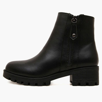 Black Side Zipper PU Leather Boots