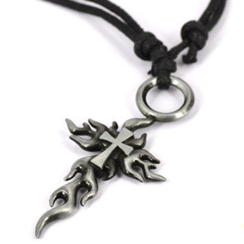Unisex Fire Cross Necklace So Cool!!